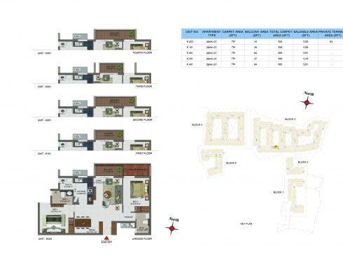 2 BHK Apartments Floor Plan (Unit No KG01, K101, K201, K301, K401) - Casagrand Utopia