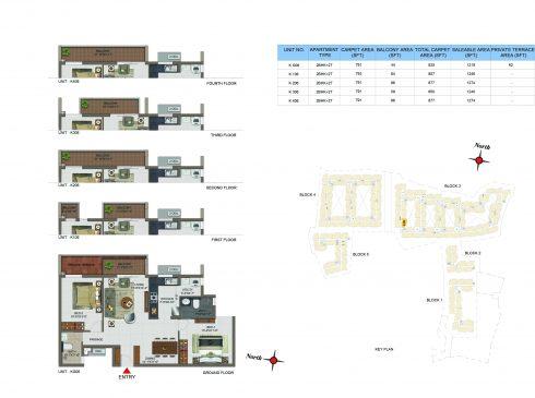 2 BHK Apartments Floor Plan (Unit No KG06, K106, K206, K306, K406) - Casagrand Utopia
