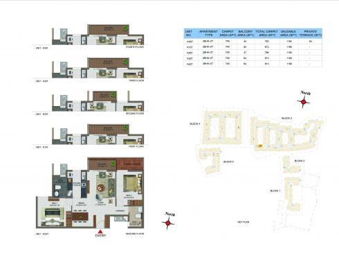 2 BHK Apartments Floor Plan (Unit No KG07, K107, K207, K307, K407) - Casagrand Utopia
