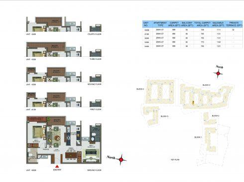 2 BHK Apartments Floor Plan (Unit No KG09, K109, K209, K309, K409) - Casagrand Utopia