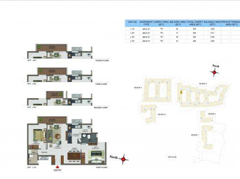 2 BHK Apartments Floor Plan (Unit No L101, L201, L301, L401) - Casagrand Utopia
