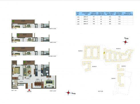 2 BHK Apartments Floor Plan (Unit No L104, L204, L304, L404) - Casagrand Utopia