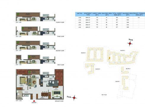 2 BHK Apartments Floor Plan (Unit No LG02, L102, L202, L302, 402) - Casagrand Utopia