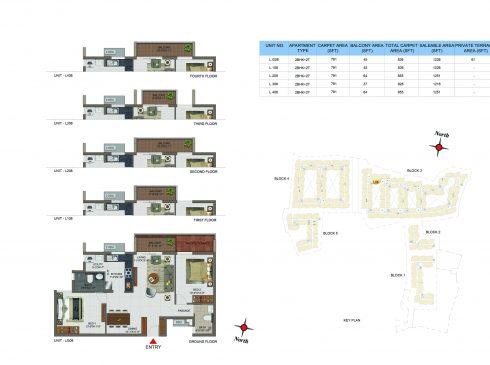 2 BHK Apartments Floor Plan (Unit No LG08, L108, L208, L308, L408) - Casagrand Utopia
