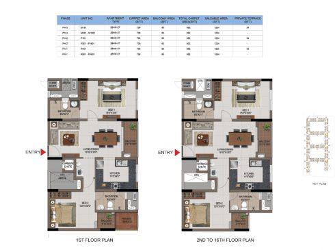 2 BHK Apartments Floor Plan (Unit No M101, M102 - M1602, P101, P102-P1602, R101,R102 -R1602) - Casagrand First City