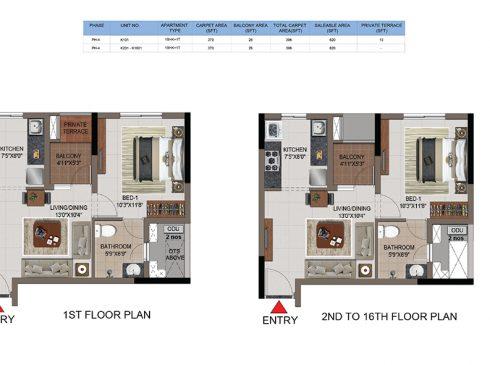 1 BHK Apartments Floor Plan (Unit No K101, K201- K1601) - Casagrand First City