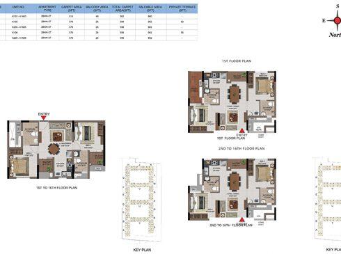 2 BHK Apartments Floor Plan (Unit No K103-K1603, K105, K205-K1605, K106, K206-K1606) - Casagrand First City
