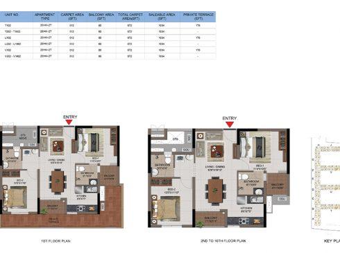 2 BHK Apartments Floor Plan (Unit No T102, T202-T1602, U102, U202-T1602, V102, V202-V1602) - Casagrand First City