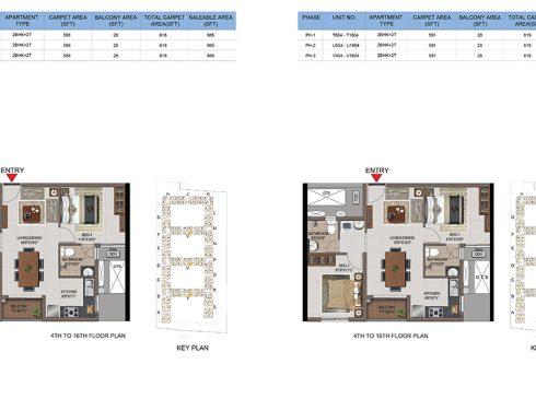 2 BHK Apartments Floor Plan (Unit No T603-T1603, U603-U1603, V603-V1603, T604-T1604, U604-U1604, V604-V1604) - Casagrand First City