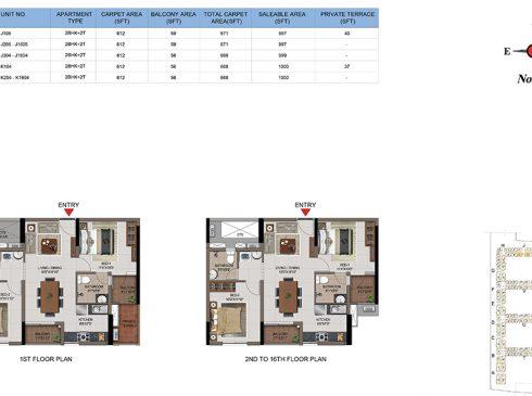 2 BHK Apartments Floor Plan (Unit No J105, J205-J1605, J304-T1604, K104, K204-K1604) - Casagrand First City