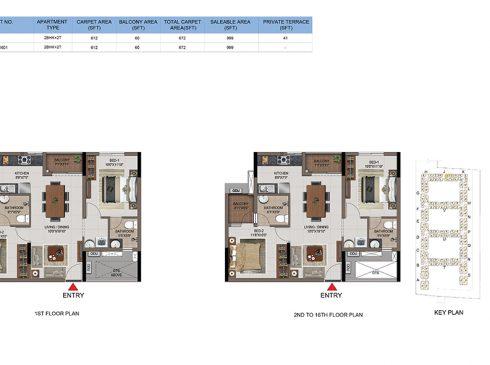 2 BHK Apartments Floor Plan (Unit No J101, J201-J1601) - Casagrand First City