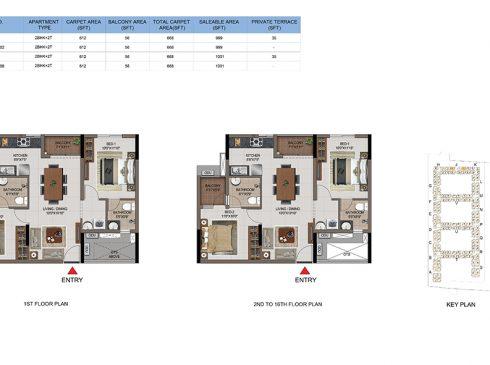 2 BHK Apartments Floor Plan (Unit No J102, J202-J1602, J108, J208-J1608) - Casagrand First City