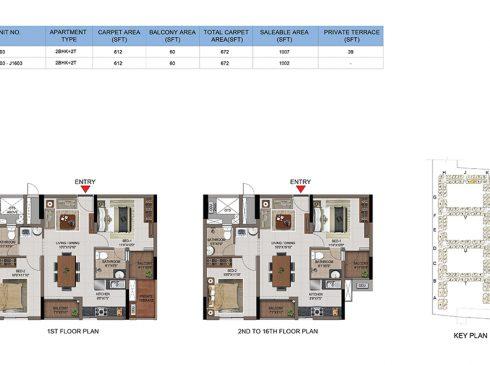 2 BHK Apartments Floor Plan (Unit No J103, J203-J1603) - Casagrand First City