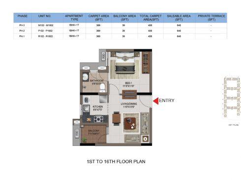 1 BHK Apartments Floor Plan (Unit No M102 - M1602, P102-P1602, R102-R1602)