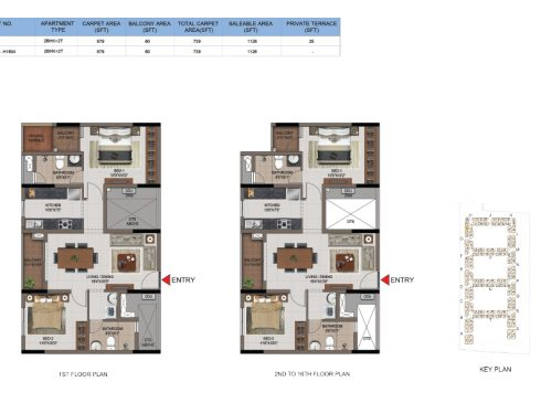 2 BHK Apartments Floor Plan (Unit No H104, H204-H1604) - Casagrand First City