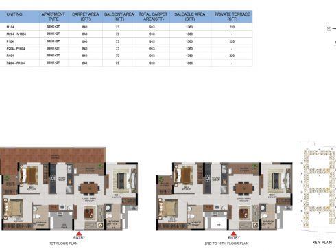 3 BHK Apartments Floor Plan (Unit No M104, M204-M1604, P104, P204-P1604, R104, R204-R1604) - Casagrand First City