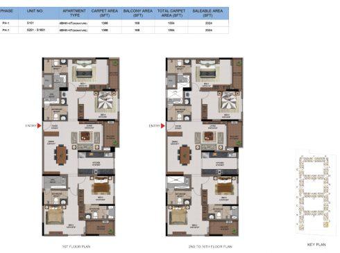 4 BHK Apartments Floor Plan (Unit No S101, S201-L1601) - Casagrand First City