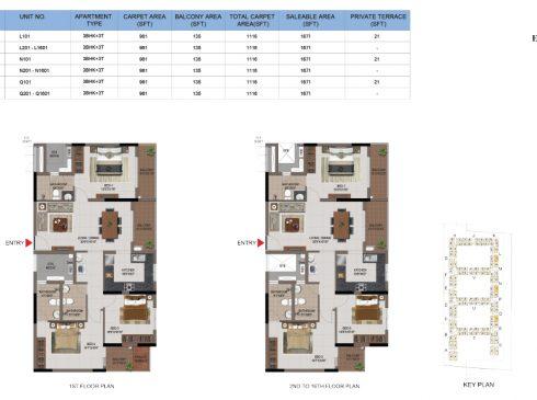 3 BHK Apartments Floor Plan (Unit No L101, L201-L1601, N101, N201-N1601, Q101, Q201-Q1601) - Casagrand First City