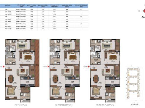 3 BHK Apartments Floor Plan (Unit No C103, C203-C303, C403-C1603, E103, E203-E303, E403-E1603, G103, G203-G303, G403-G1603) - Casagrand First City