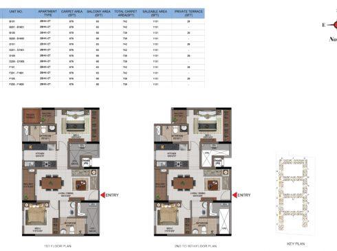 2 BHK Apartments Floor Plan (Unit No B101, B202-B1601, B105, B205-B1605, D101, D201-D1601, D105, D205-D1605, F101, F201-F1601, F105, F206-F1606) - Casagrand First City