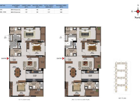 3 BHK Apartments Floor Plan (Unit No S104, S204-S1604) - Casagrand First City