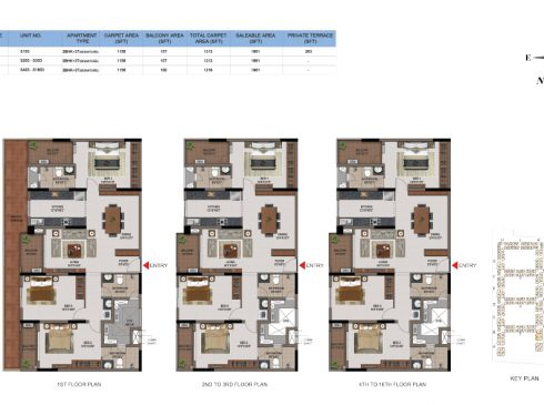 3 BHK Apartments Floor Plan (Unit No S103, S203-S303, S403-S1603) - Casagrand First City
