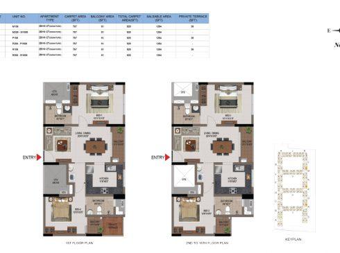 2 BHK Apartments Floor Plan (Unit No M105, M205-M1605, P105, P205-P1605, R106, R206-R1605 ) - Casagrand First City
