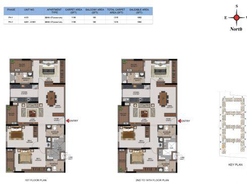 3 BHK Apartments Floor Plan (Unit No A101, A201-A1601) - Casagrand First City