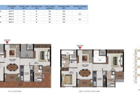 2 BHK Apartments Floor Plan (Unit No T205-T1605, U105, U205-U1605, V105, V205-V1605) - Casagrand First City