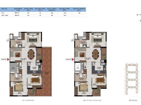 3 BHK Apartments Floor Plan (Unit No H103, H203-H1603) - Casagrand First City