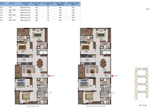 4 BHK Apartments Floor Plan (Unit No C104, C204-C1604, E104, E204-E1604, G104, G204-G1604) - Casagrand First City