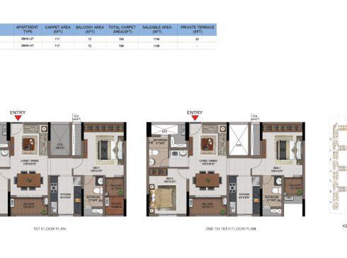 2 BHK Apartments Floor Plan (Unit No J106, J206-J1606) - Casagrand First City