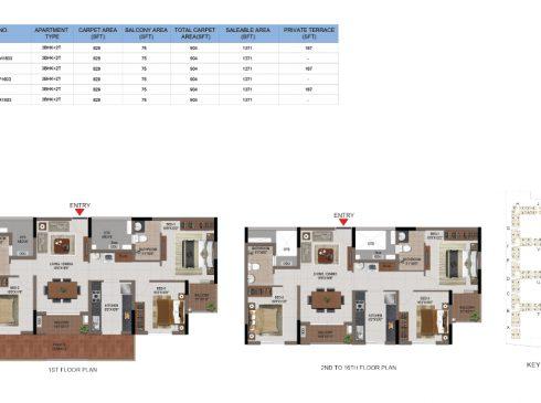 3 BHK Apartments Floor Plan (Unit No M103, M203-M1603, P103, P203-P1603, R103, R203-R1603) - Casagrand First City