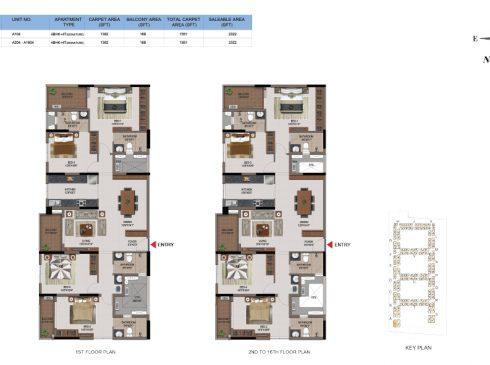 4 BHK Apartments Floor Plan (Unit No A104, A204-A1604) - Casagrand First City