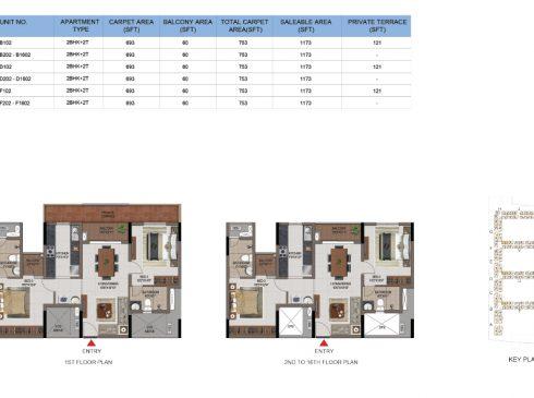 2 BHK Apartments Floor Plan (Unit No B102, B202-B1602, D102, D202-D1602, F102, F202-F1602) - Casagrand First City