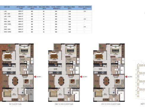 3 BHK Apartments Floor Plan (Unit No L102, L202-L302, L402-L1602, N102, N202-N302, N402-N1602, Q102, Q202-Q302, Q402-Q1602) - Casagrand First City