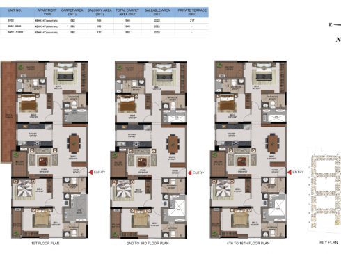 4 BHK Apartments Floor Plan (Unit No S102, S202-S302, S402-S1602) - Casagrand First City