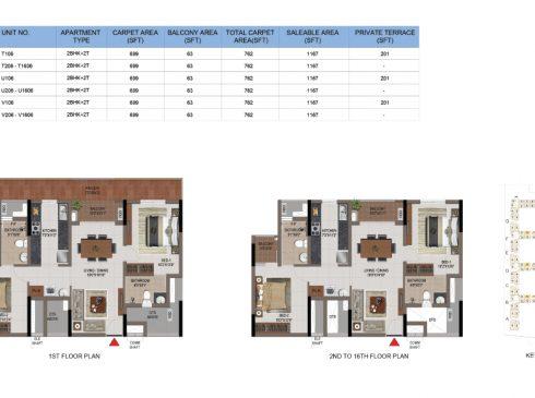 2 BHK Apartments Floor Plan (Unit No T106, T206-T1602, U106, U206-U1602, V106, V206-V1602) - Casagrand First City