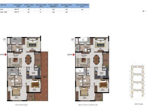 3 BHK Apartments Floor Plan (Unit No B104, B204-B1064) - Casagrand First City