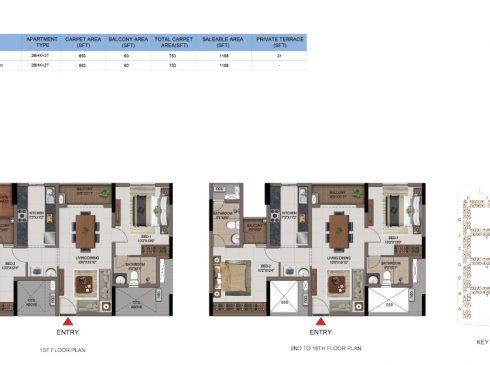 2 BHK Apartments Floor Plan (Unit No H101, H201-H1602) - Casagrand First City