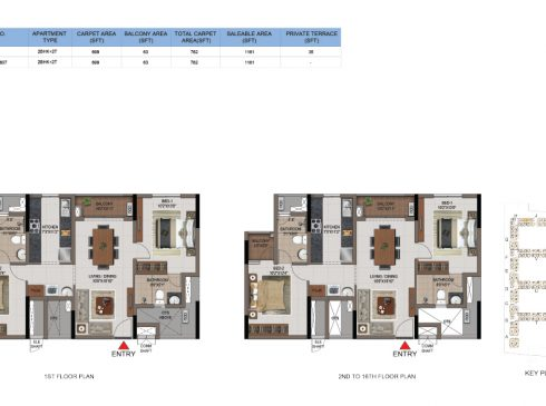 2 BHK Apartments Floor Plan (Unit No J107, J207-J1607) - Casagrand First City