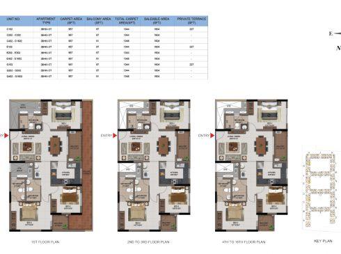 3 BHK Apartments Floor Plan (Unit No C102, C202-C302, C402-C1602, E102, E202-E302, E402-E1602, G102, G202-G302, G402-G1602) - Casagrand First City