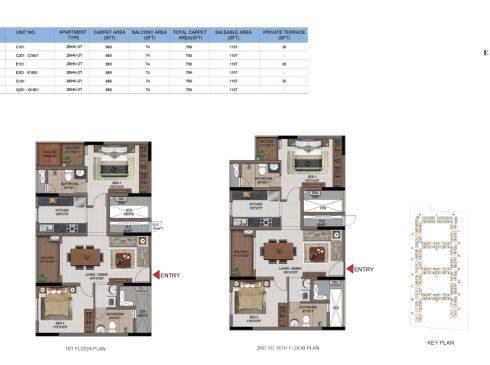 2 BHK Apartments Floor Plan (Unit No C101, C201-C1601, E101, E201-E1601, G101, G201-G1601) - Casagrand First City