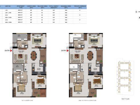 3 BHK Apartments Floor Plan (Unit No L104, L204-L1604, N104, N204-N1604, Q104, Q204-Q1604) - Casagrand First City