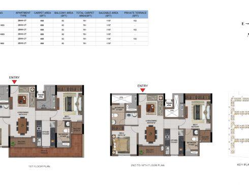 2 BHK Apartments Floor Plan (Unit No B103, B203-B1603, D103, D203-D1603, F103, F203-F1603) - Casagrand First City